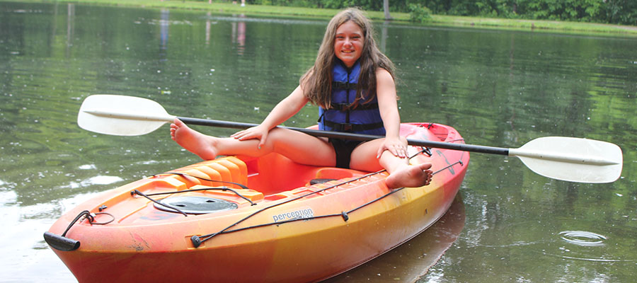 A picture of a kayak available for rent at Kymer's